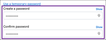 Create and confirm your password.