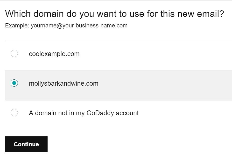 Επιλέξτε domain και κάντε κλικ στο κουμπί Συνέχεια