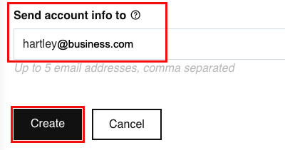 Enter email address and click create.