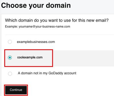 Выберите домен и нажмите