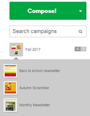 La miniatura della campagna viene visualizzata nel gruppo