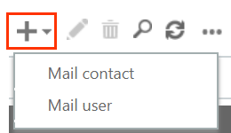 Add plus sign opens to drop-down menu with Mail contact option