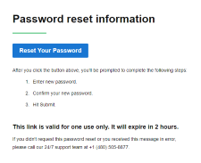 Click Reset Your Password