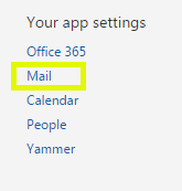 Click Your app settings and then click Mail