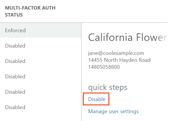 Under quick steps, Disable and Manage user settings options