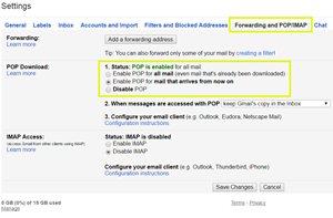 Set up POP3 in Gmail