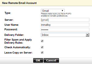 Set up a remote email account