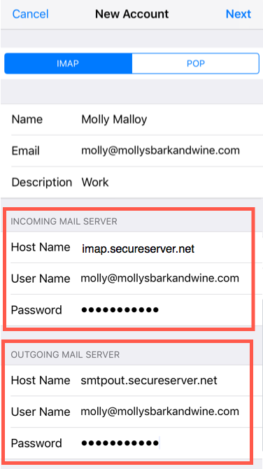 Enter email account server details